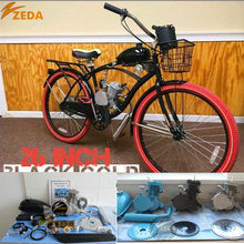 Gas bike 49cc 60cc 66cc 80cc 26 ''beach cruiser motor benzin bike 2 hub 100cc fahrradmaschineninstallationssatz