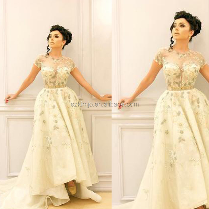 light yellow prom dresses sheer crew neckline cap sleeve lace appliques  beading sequins high front and d6c1a1741a01