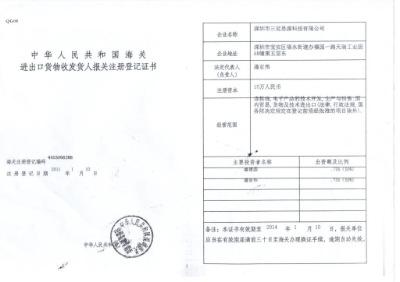 Registered Certificate in Shenzhen Customs