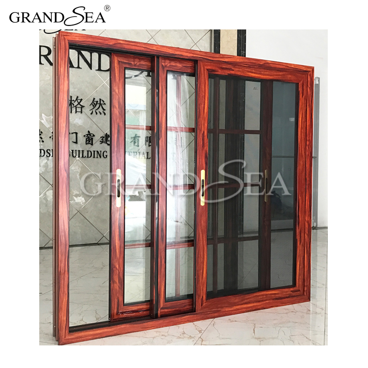 Electrophoresis aluminum frame double tinted glass with grill sliding window