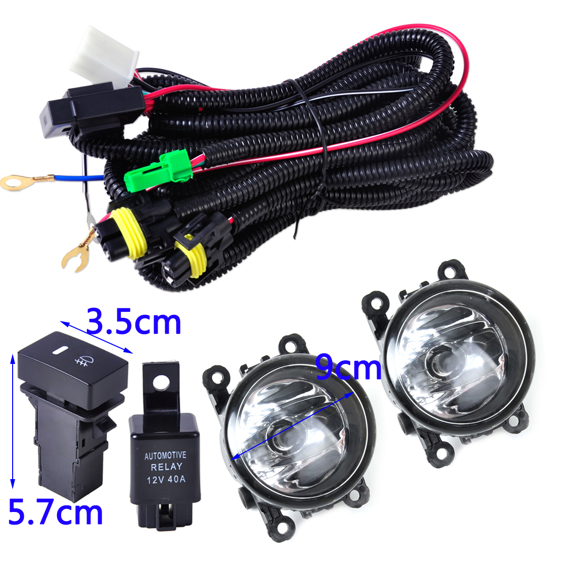 Beler Wiring Harness Sockets Switch + 2x H11 Fog Lights