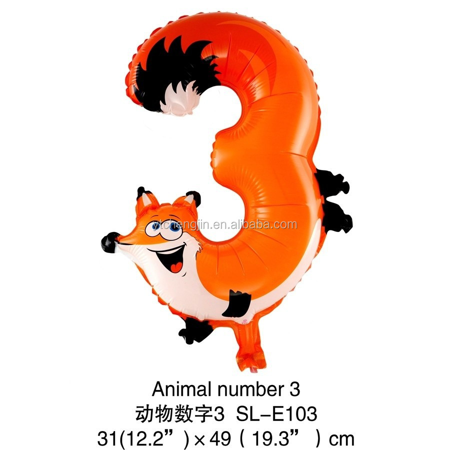 19inch Fox Shape Number 3 Foil Balloon Animal Buy Baloon Balloonnumber Product On