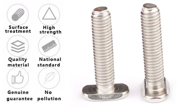Customized Machine Thread 304 Stainless Steel Thin T Bolt