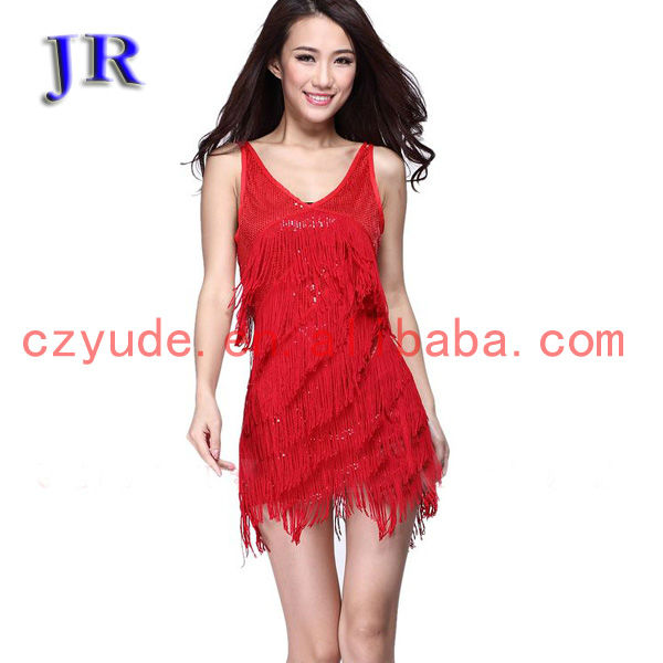 L-7005 Sexy shiny fabric fringe stage latin dance dress for women