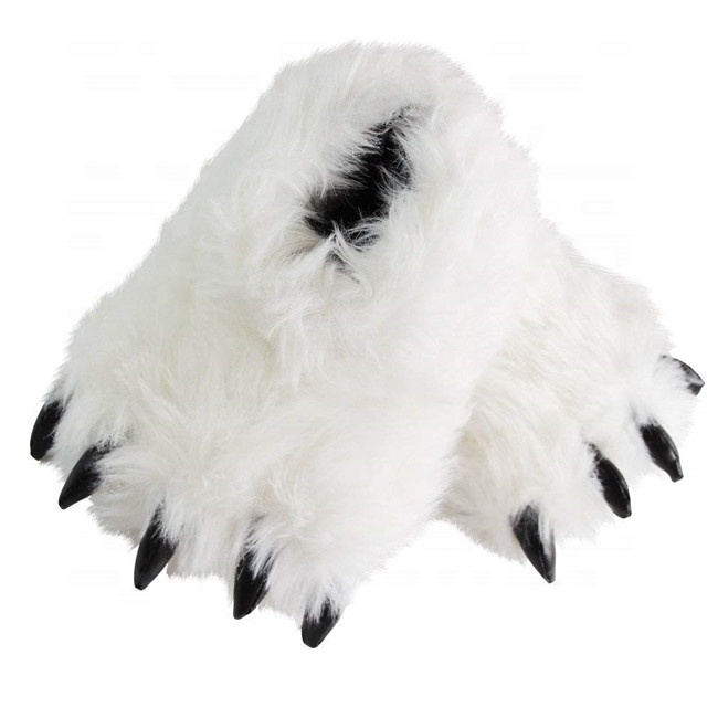 Bear Paw Slippers Grizzly Bear Foot House Slippers Fuzzy Stuffed Animal Claw Shoes