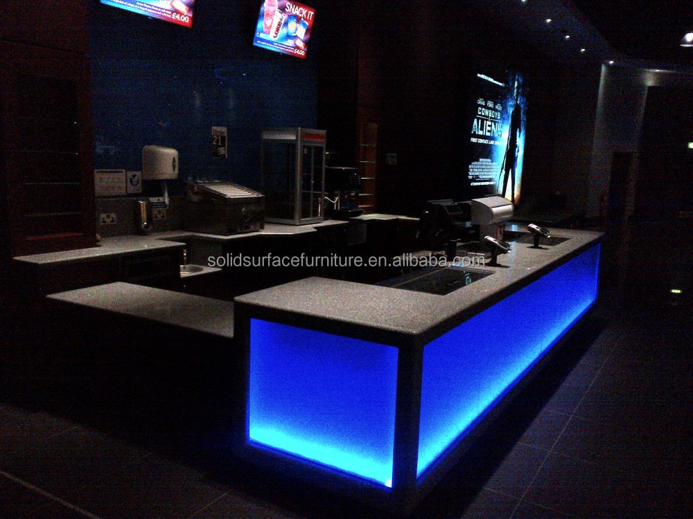 Custom commercial led illuminated bar counter for sale for Acrylic bar top