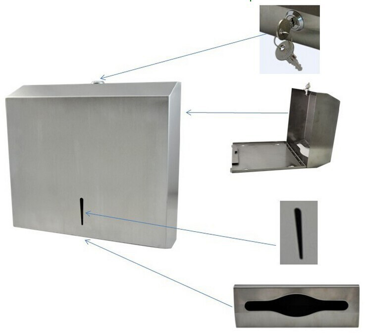 stainless steel tissue dispenser with lock