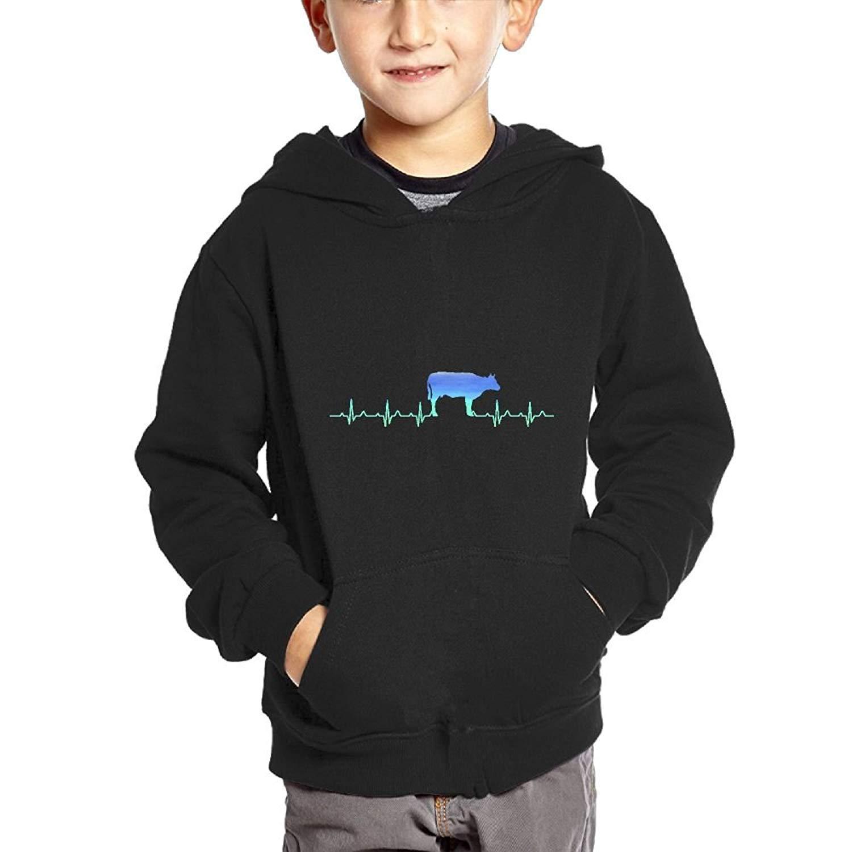 SKO8S Hoodies Heartbeat Cow Neon Kids Pullover Hoodies Long Sleeve Sweatshirt With Big Pockets