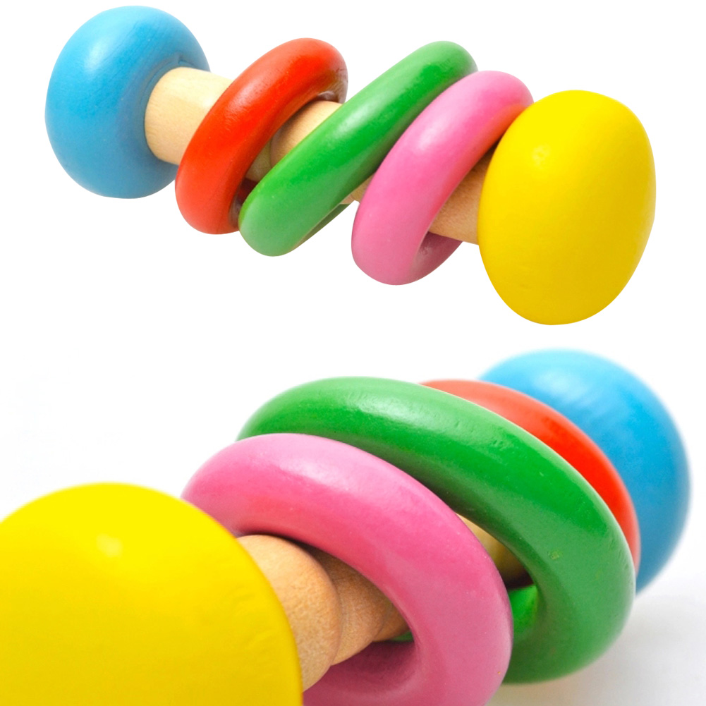 Delicious Colorful Small Wooden Hammer Cartoon Sand Ball Knock Wooden Bell Baby Educational Toys Kids Best Gift Musical Instruments