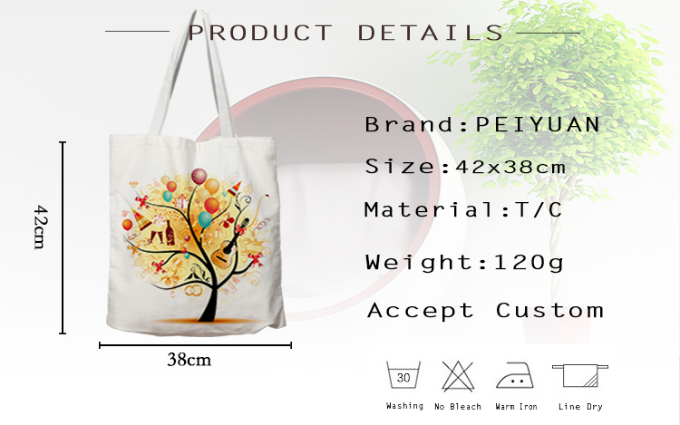 Custom Print Cotton Fabric Colorful Halloween Women Cheap Canvas Bag Factory Shopping Bag Tote Bag
