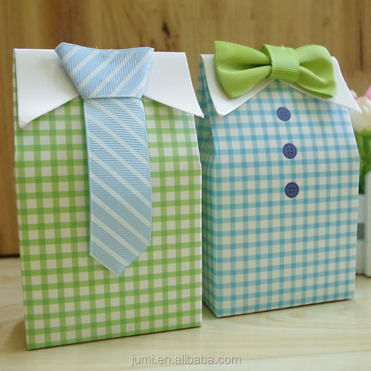 Baby Shower Gift Favor Boxes My Little Man 3d Bow Tie Shirt Candy ...