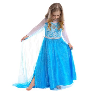 Elsa Queen Dress Girls Fancy Costume With Long Trailing Cloak For ...
