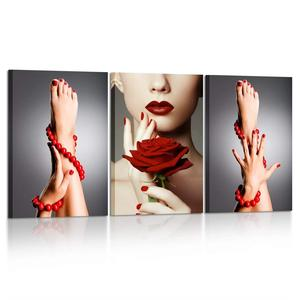3 Piece Canvas Print Woman Portrait with Red Rose Flower Red Lips and Nails Wall Art Luxury Makeup and Manicure Art Work for Spa