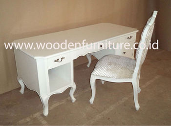 Antique Computer Desk Classic Study Table French Style Office Furniture  White Painted Writing Table European Home