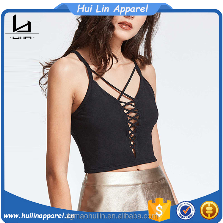 wholesale women plain black lace up v neck cami ladies tight crop top