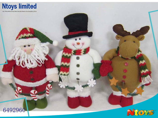 "64929601 6"" TRADITIONAL FABRIC CHRISTMAS DECORATION SANTA/SNOWMAN/DEER STANDING POSTURE"