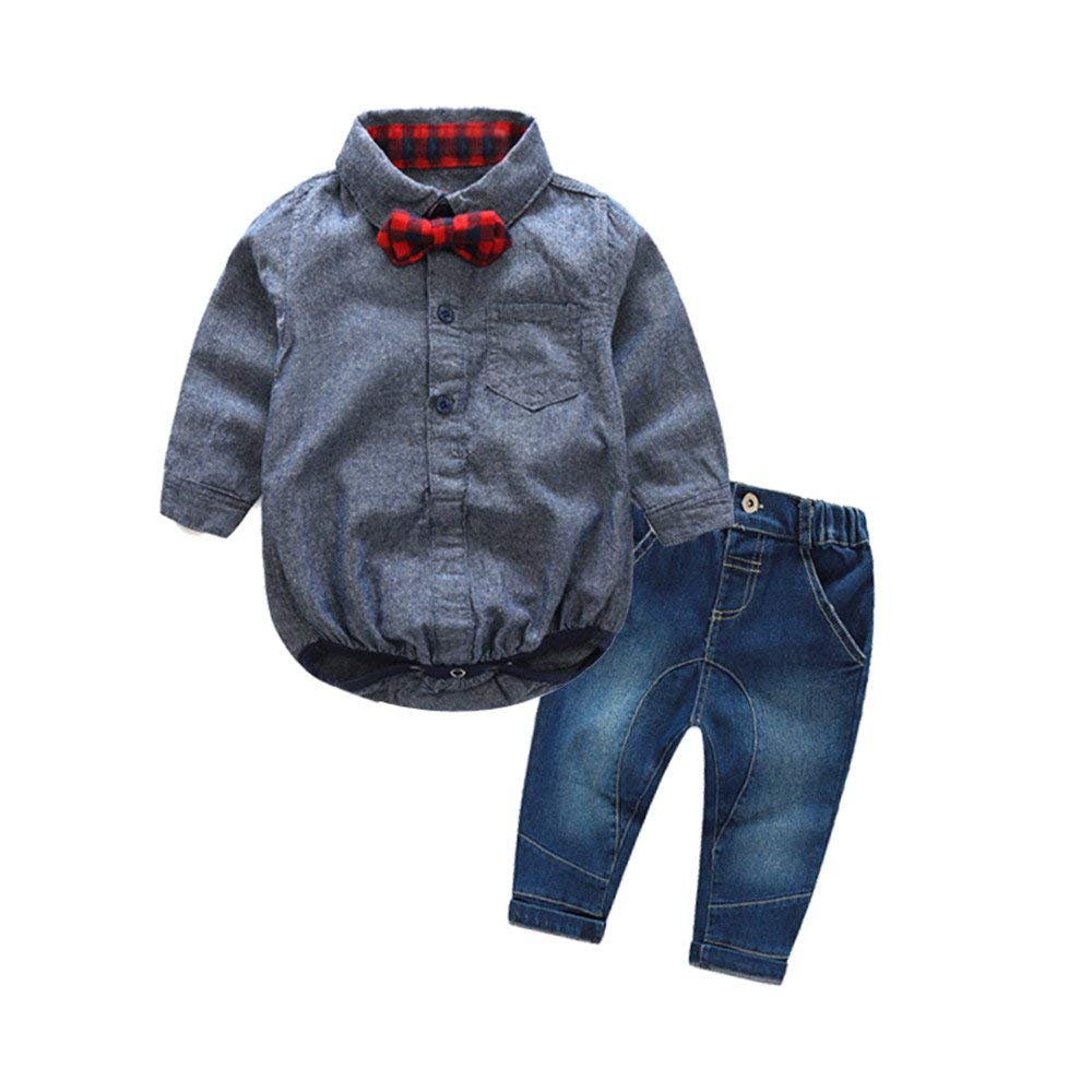 Moyikiss Studio Baby Boy Gentleman Clothes Set Long Sleeve Bow Tie Shirt +Jeans 2Pcs Outfit