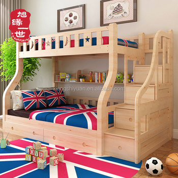 Cheap Wooden 3 Tier Levels Dubai Bunk Bed With Book Shelf