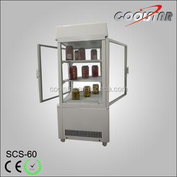 commercial four side glass door refrigerator showcase with auto defrost system