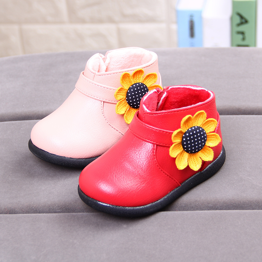new arrivals winter soft plush flower side zipper synthetic leather kids shoes girls short ankle boots