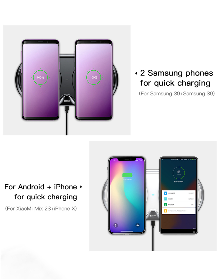 Baseus Dual Charging Positions Wireless Charger Wireless Quick Charger