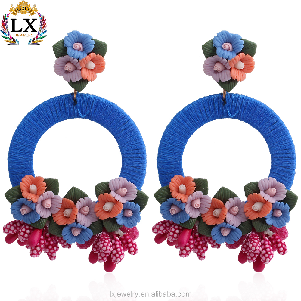ELX-00666 wholesale bright color large flower shaped earrings posie soft ceramic thread wrap fabric flower earrings