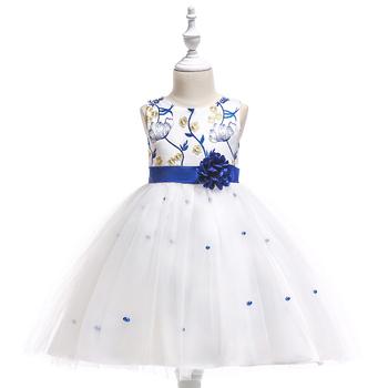 6712c46e4c2c05 Blue seductive color girls dress with print lotus pattern large flower belt  princess dress