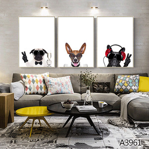 Cute Animal Printing Giclee Artwork Canvas Nordic Animal Canvas Art Painting For Living Room Decor