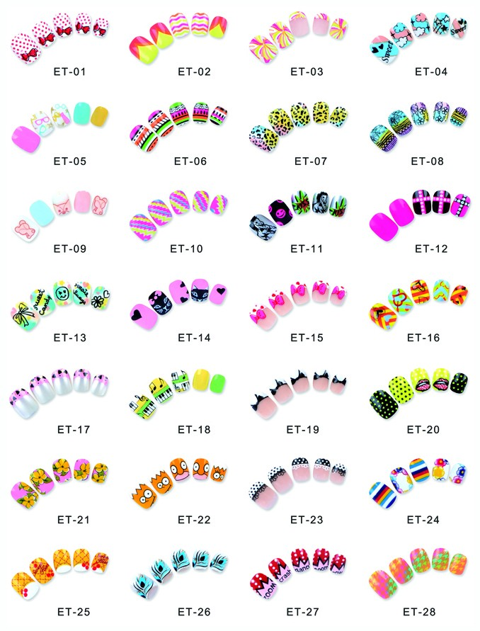 Ea Children Artificial Nail Tips Kids Finger False Fake Nails - Buy ...