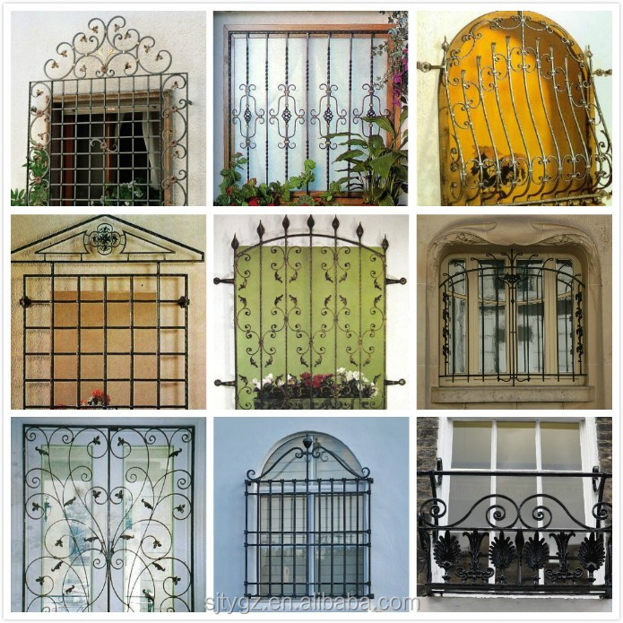 Decorative iron window bars design steel window frames for Iron window design house