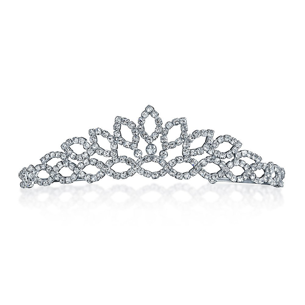 Bling Jewelry Bridal Princess Crown Tiara Rhinestone Crystal Silver Plated