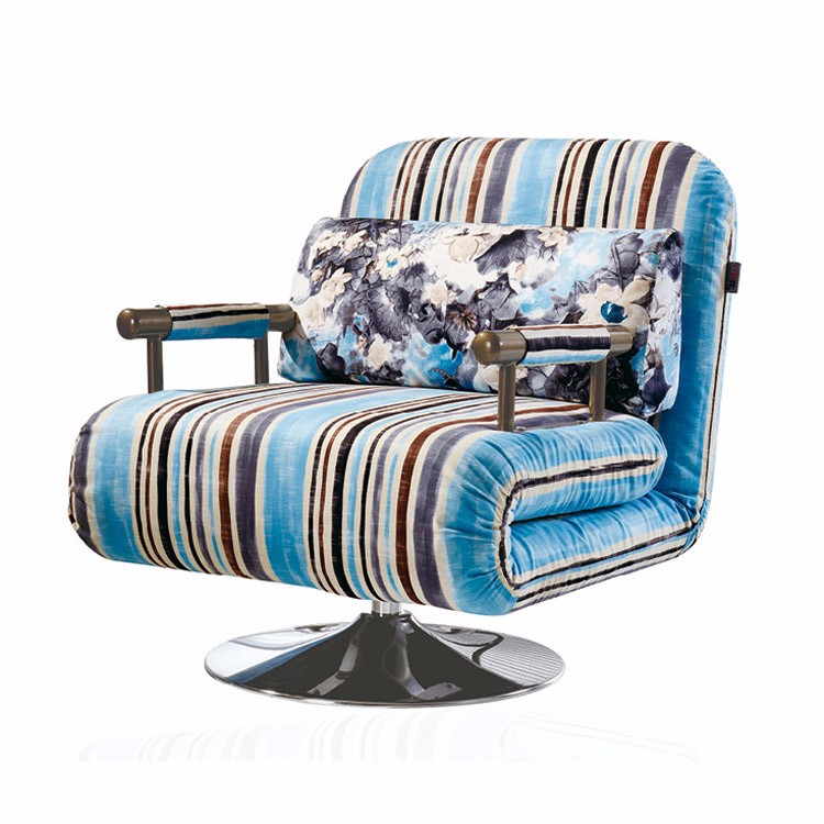 Modern stripe folding single seat chair sofa bed with rotatable foot buy folding single sofa - Seat at foot of bed ...