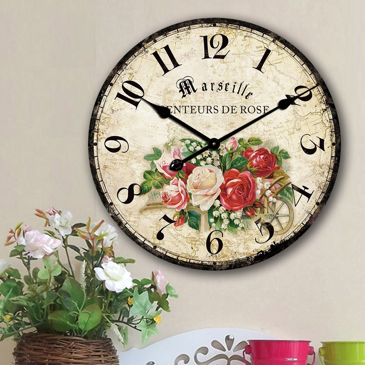 0f71ba53bc1 18 inch  (18 ) Rustic Baby Bear Wall Clock   Narrow Slat Barn Wood ...