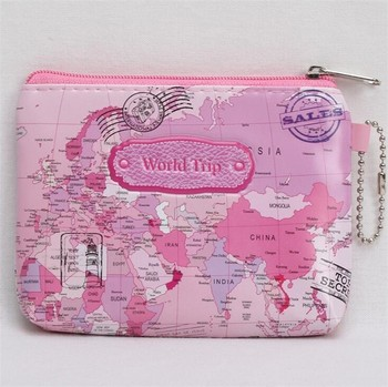 Wholesale 3d World Map Pu Leather Mini Personalized Zipper Coin