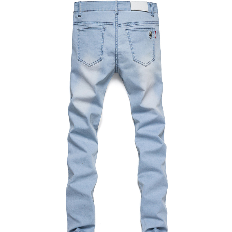 b0ddf28e5e9 Get Quotations · Slim capri jeans men preppy college style low waist pencil  denim mens big size jeans