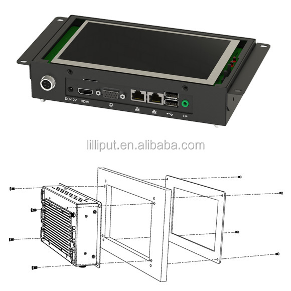 "LILLIPUT 7"" 800*480 industrial rugged tablet pc  with RS232/485/422"