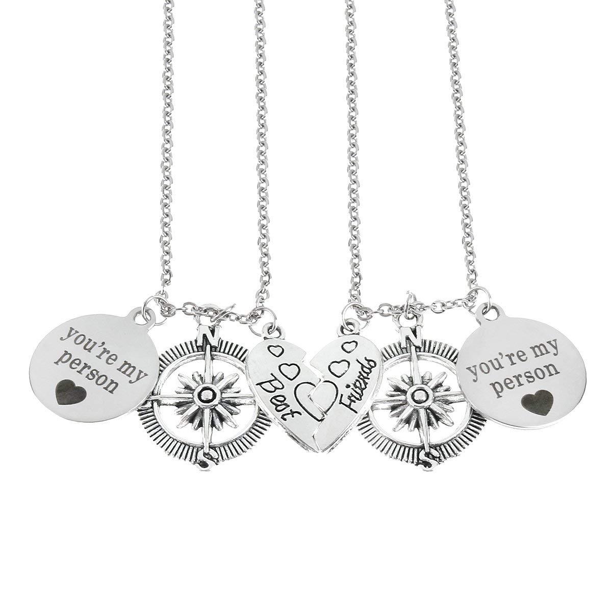 f9cc4d4946 Get Quotations · Best Friends You're My Person Compass Necklace Set Heart  Best Friend Necklaces Half Broken