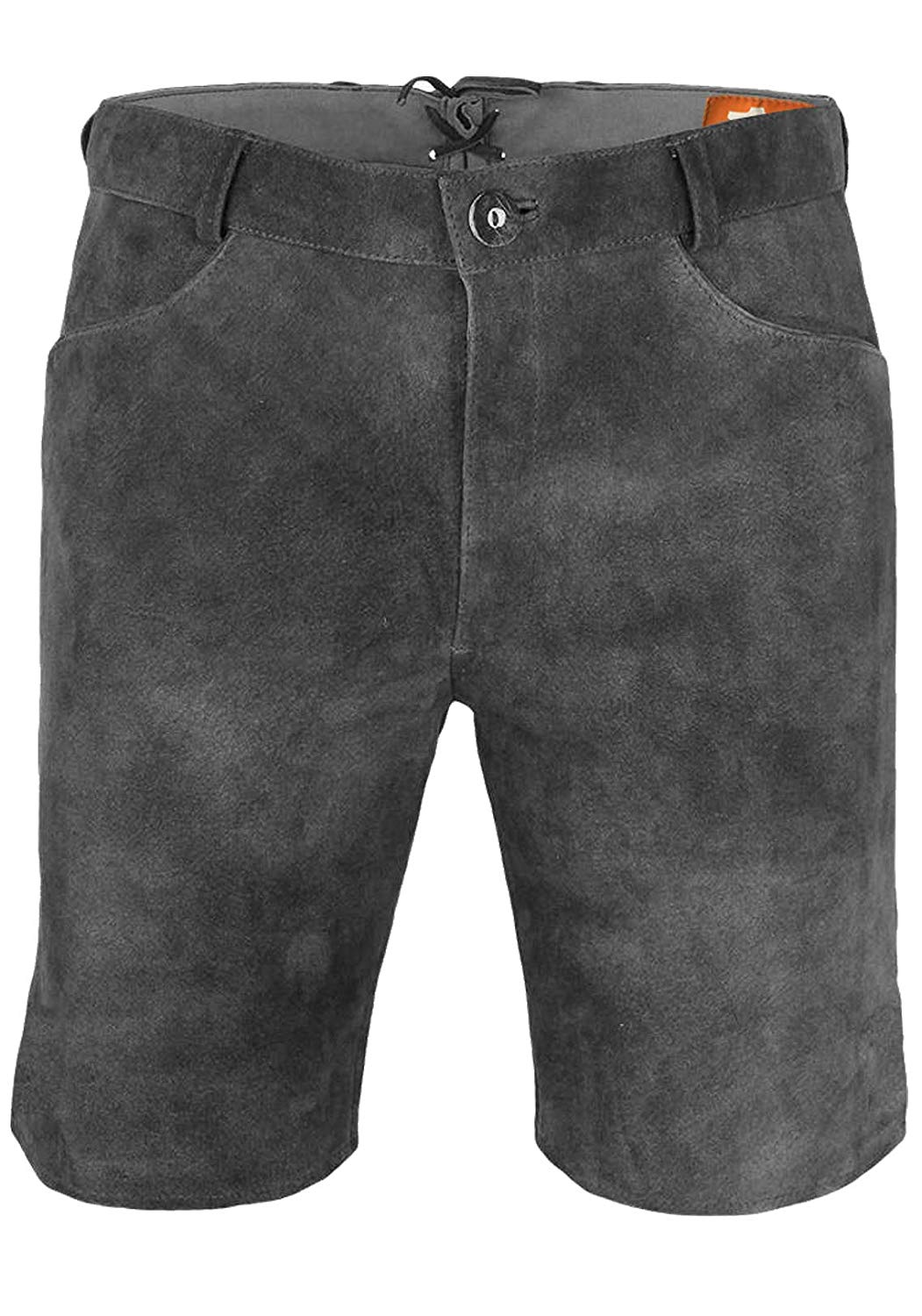 Original Distressed Leather Brown Vintage Style Men/'s Leather Flat Front Shorts Grey