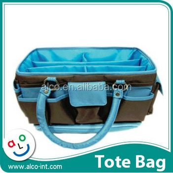 Blue Color Craft Tote Bag For Sbooking Organizer With Multi Pockets Product On