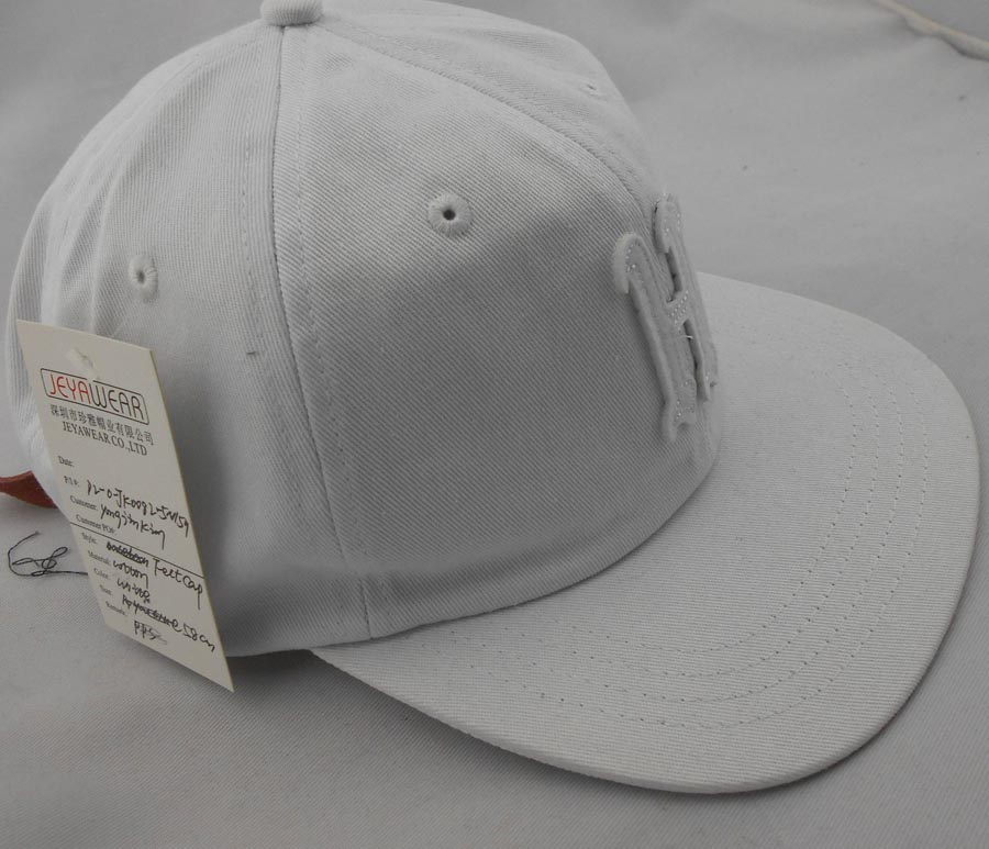 Front H felt applique washed snapback hats Solid color white unstructured snapback hats