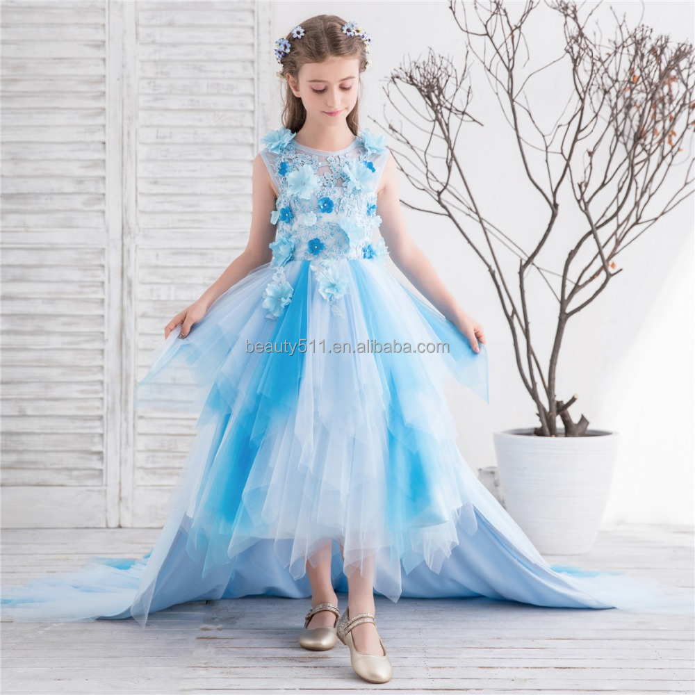 ae5b77355 2018 New Flower Girls Kids Party Wear Princess Puffy Dresses ...