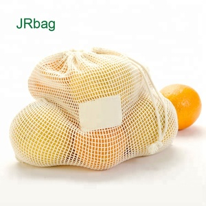 Natural Fruit Packing Mesh Drawstring Bags Cotton Mesh Orange Bags
