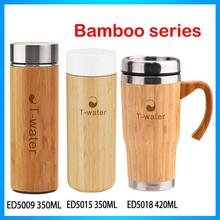 Customizable BPA free oem stainless steel bamboo drink bottle with bamboo wood cap