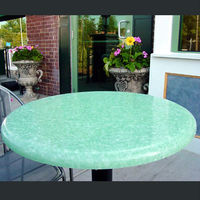 Durable artificial stone wrought iron table with marble top