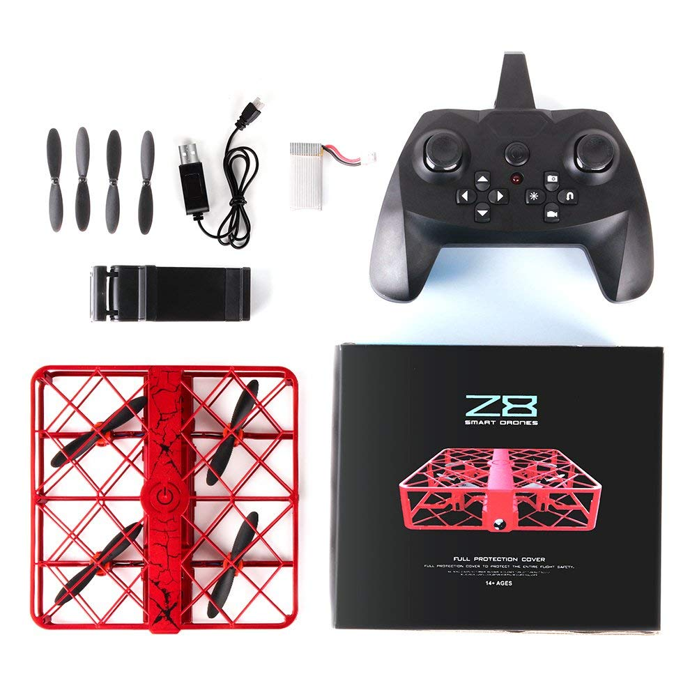 JD-08 Smart Mini Drone RC Drone 2.4G 6 Axis Gyro 3D Flip Headless Mod Crashworthy HD Camera Structure Mini RC Quadcopter Red KDator