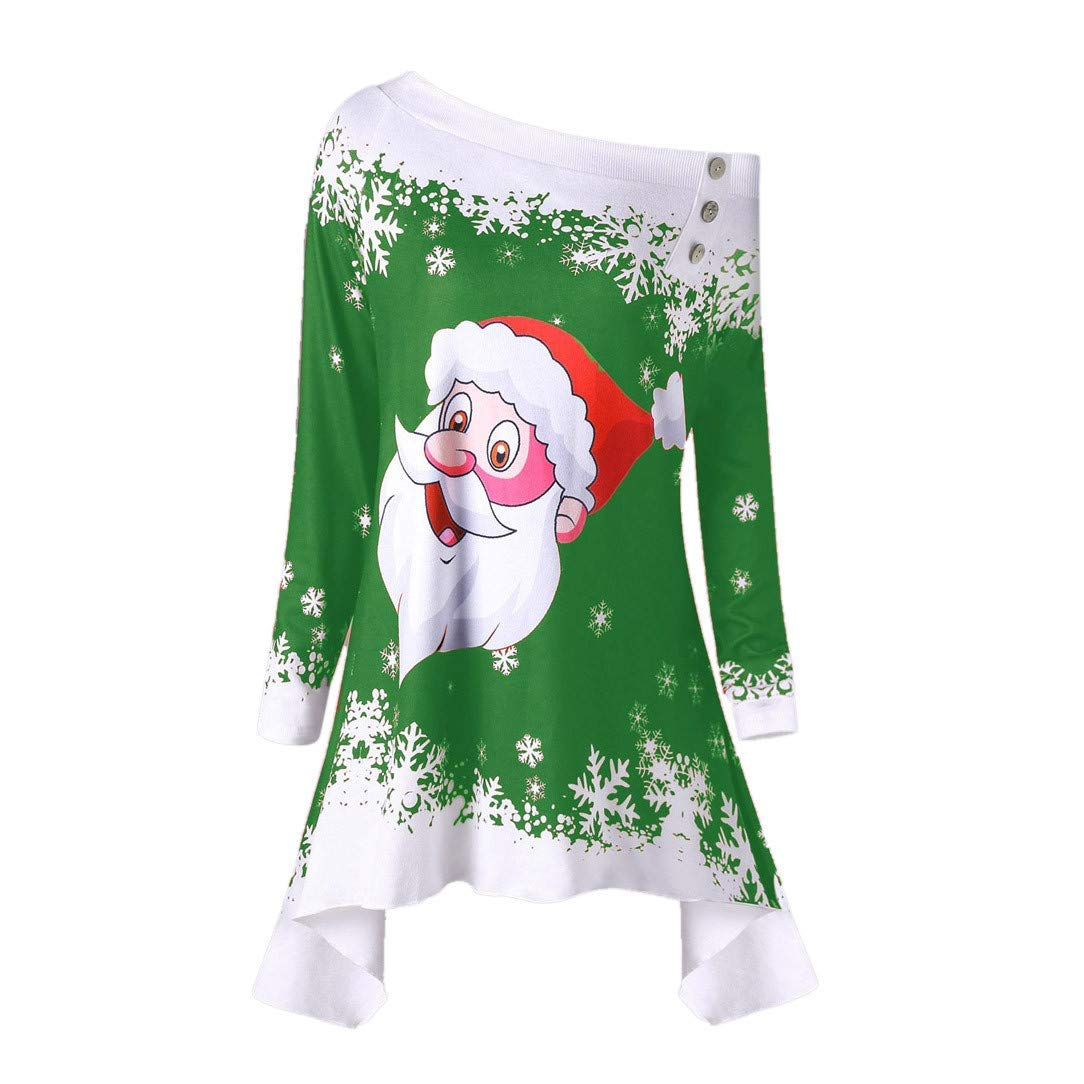 F_topbu Christmas Blouses for Womens,Women's Long Sleeve Christmas Print Tunic Shirts Fashion T-Shirt Casual Pullover Tops