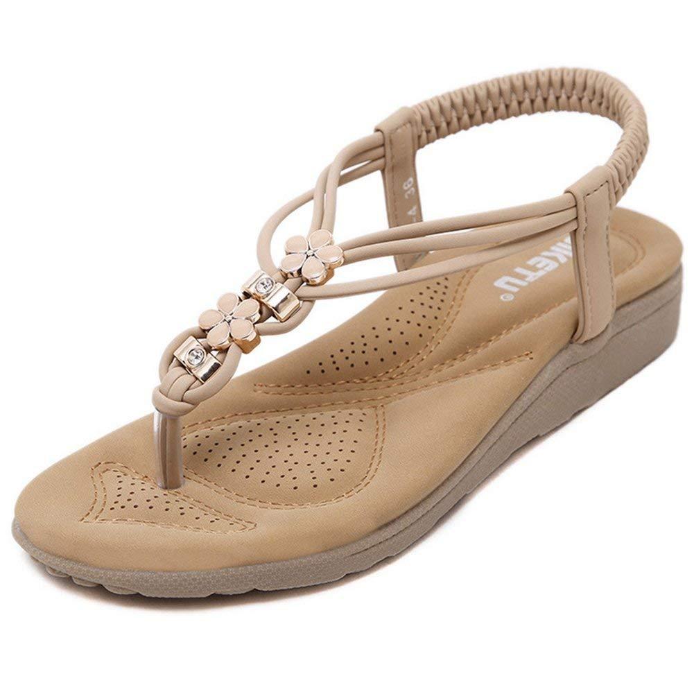 e4f958ef5647 Get Quotations · JINANLIPIN Bohemian Flat Flip Flops Sandals for Women with  Flowers Comfort Elastic Summer Beach Thong