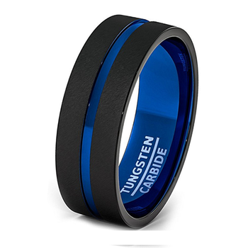 a7e36117e23 8mm Black Brushed Thin Blue Line Wedding Band Men s Jewelry Tungsten  Carbide Ring