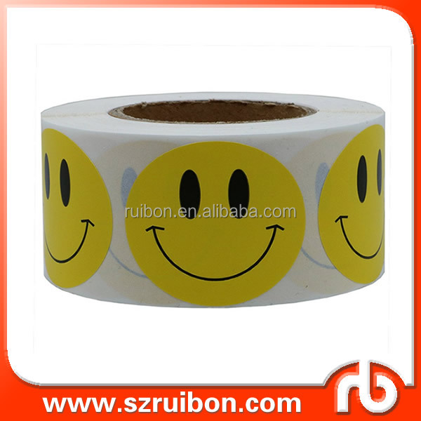 Yellow Smiley Face Happy Stickers Round Circle Teacher Labels,Great Reward Sticker for Teachers, Awards, Parties