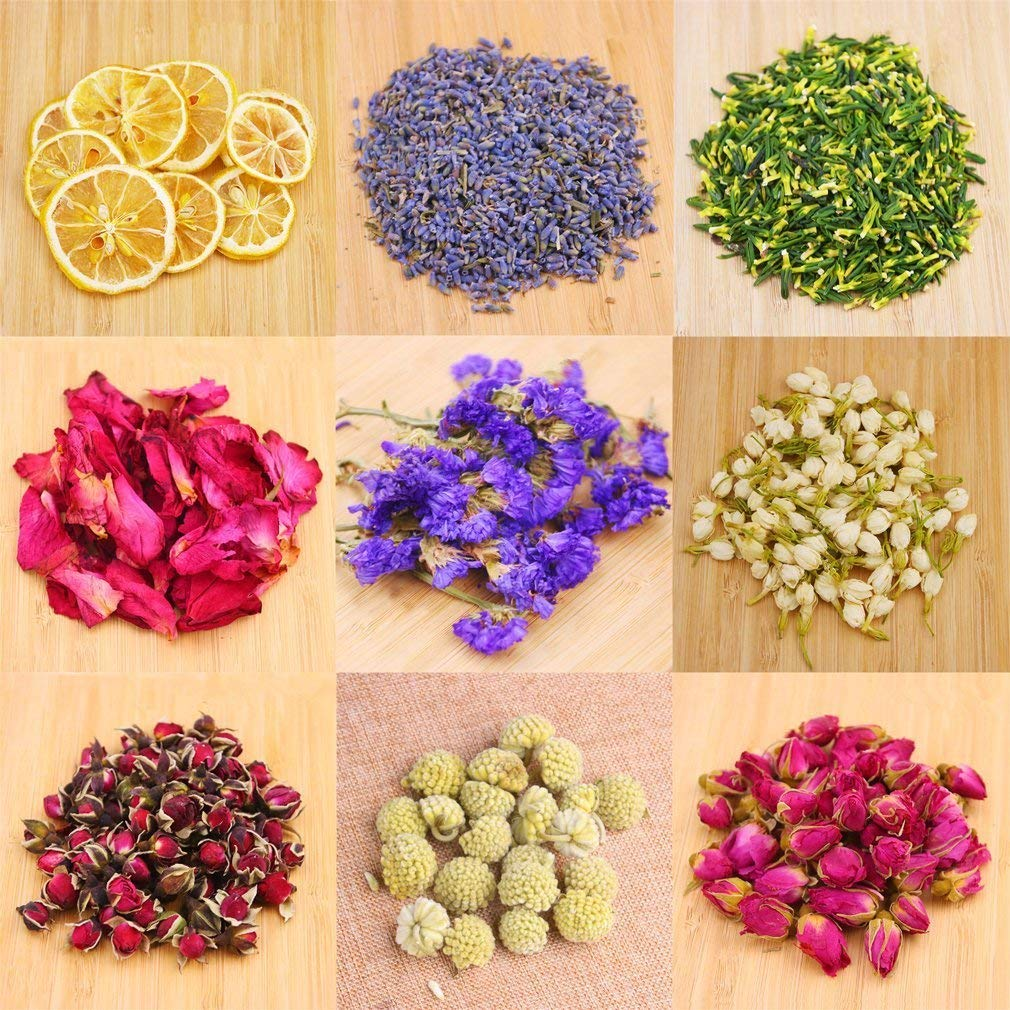 Dried Flowers,Artisan Dried Flower Kit - Candle Making, Soap Making,DIY Soap, Natural Flowers,AAA Food Grade-Lemon,Lavender,Roseleaf,Pink Rose,Red Rose,Jasmine Flower,Rose Petal,Sea Lavender- 9Bags